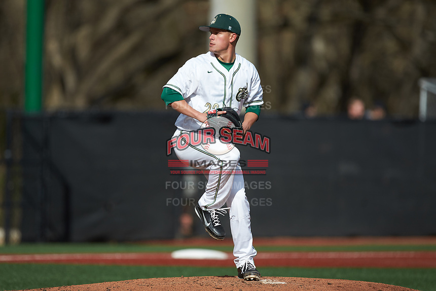 Charlotte 49ers relief pitcher Matt Horkey (22) in action against the Arkansas Razorbacks at Hayes Stadium on March 21, 2018 in Charlotte, North Carolina.  The 49ers defeated the Razorbacks 6-3.  (Brian Westerholt/Four Seam Images)