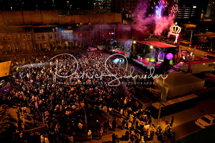 Overall view of the festivities of First Night Charlotte 2009 in Uptown Charlotte, NC.