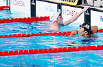 Kosuke Hagino (JPN),<br /> JULY 28, 2013 - Swimming : Silver medalist Kosuke Hagino (R) of Japan looks on during the men's 400m freestyle final during the World Swimming Championships at the Sant Jordi arena in Barcelona, Spain.<br /> (Photo by Daisuke Nakashima/AFLO)