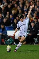 Man of the Match George Ford of Leicester Tigers takes a kick during the LV= Cup semi final match between Bath Rugby and Leicester Tigers at The Recreation Ground, Bath (Photo by Rob Munro, Fotosports International)