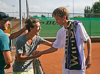 August 9, 2014, Netherlands, Rotterdam, TV Victoria, Tennis, National Junior Championships, NJK, Winner boys 14 years Alec Deckers is being congratulated by his friends<br /> Photo: Tennisimages/Henk Koster