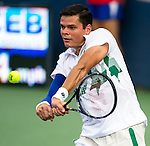 Milos Raonic (CAN) defeated Lleyton Hewitt (AUS) 76(1) 76(3) at the Citi Open in Washington, DC on July 31, 2014.