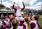 Florida State third baseman Sydney Sherril is hoisted after she hit the double that scored the winning run defeating North Carolina 8-0 in the championship game of the 2019 ACC Softball Championship at JoAnne Graf Field in Tallahassee, FL., Saturday, May 11, 2019.  (Photo by Mark Wallheiser, the ACC)
