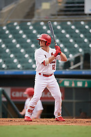 Palm Beach Cardinals Nick Dunn (12) bats during a Florida State League game against the Clearwater Threshers on August 11, 2019 at Roger Dean Chevrolet Stadium in Jupiter, Florida.  Palm Beach defeated Clearwater 4-1.  (Mike Janes/Four Seam Images)