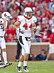 Ball State Cardinals defensive end Ryan Hartke (44) in action during the game between the Ball State Cardinals  and the Oklahoma Sooners at the Oklahoma Memorial Stadium in Norman, Oklahoma. OU defeats Ball State 62 to 6.