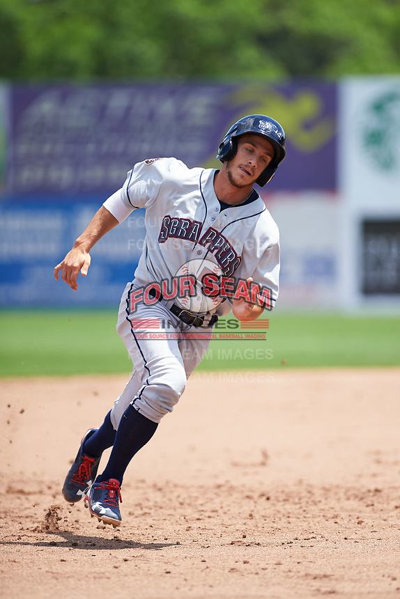 Mahoning Valley Scrappers designated hitter Jesse Berardi (52) running the bases during the first game of a doubleheader against the Auburn Doubledays on July 2, 2017 at Falcon Park in Auburn, New York.  Mahoning Valley defeated Auburn 3-0.  (Mike Janes/Four Seam Images)