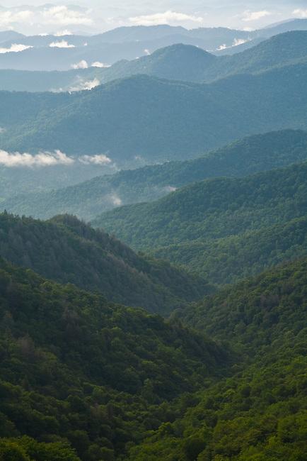 Stacked ridges and breaking storm, Blue Ridge Parkway, North Carolina