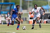 Bradenton, FL - Sunday, June 12, 2018: Rachelle Caremus, Teni Akindoju prior to a U-17 Women's Championship 3rd place match between Canada and Haiti at IMG Academy. Canada defeated Haiti 2-1.