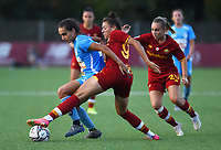 4th September 2021; Agostino di Bartolomei Stadium, Rome, Italy; Serie A womens championship football, AS Roma versus Napoli ; Sede Abrahamsson of Napoli challenged by Nina Kajzba of Roma
