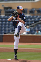 Durham Bulls pitcher Alex Cobb #17 pitching during a game versus the Louisville Batts at Durham Bulls Athletic Park in Durham, North Carolina on May 18, 2011. Durham defeated Louisville by the score of 7-4.   Photo By Robert Gurganus/Four Seam Images