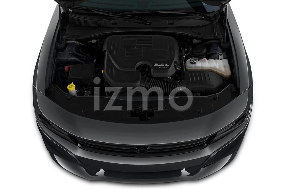 Car stock 2019 Dodge Charger SXT 4 Door Sedan engine high angle detail view