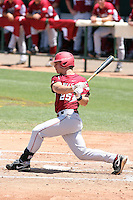 Collin Kuhn #25 of the Arkansas Razorbacks plays against the Charlotte 49ers in the Tempe Regional of the NCAA baseball post-season at Packard Stadium on June 5, 2011 in Tempe, Arizona. .Photo by:  Bill Mitchell/Four Seam Images.