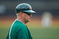 Miami Hurricanes head coach Gino DiMare (6) coaches third base during the game against the Wake Forest Demon Deacons at David F. Couch Ballpark on May 11, 2019 in  Winston-Salem, North Carolina. The Hurricanes defeated the Demon Deacons 8-4. (Brian Westerholt/Four Seam Images)