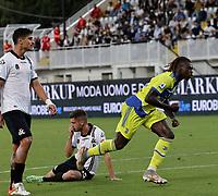 22nd September 2021; Picco Stadium, La Spezia, Italy; Serie A football, Spezia FC versus Juventus  FC: Moise Kean of Juventus celebrates after scoring for 1 - 0 in 27th minute