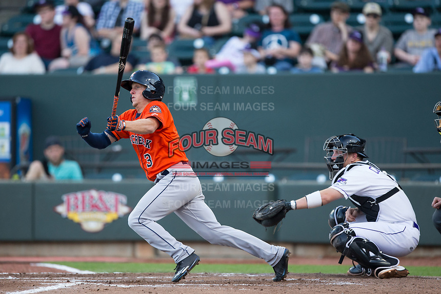 Myles Straw (3) of the Buies Creek Astros follows through on his swing against the Winston-Salem Dash at BB&T Ballpark on April 15, 2017 in Winston-Salem, North Carolina.  The Astros defeated the Dash 13-6.  (Brian Westerholt/Four Seam Images)