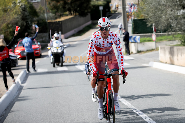 Polka Dot Jersey Anthony Perez (FRA) Cofidis in the breakaway during Stage 6 of Paris-Nice 2021, running 202.5km from Brignoles to Biot, France. 12th March 2021.<br /> Picture: ASO/Fabien Boukla | Cyclefile<br /> <br /> All photos usage must carry mandatory copyright credit (© Cyclefile | ASO/Fabien Boukla)