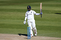 Hanuma Vihari raises his bat to celebrate reaching his fifty for Warwickshire during Warwickshire CCC vs Essex CCC, LV Insurance County Championship Group 1 Cricket at Edgbaston Stadium on 25th April 2021