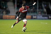 20130127 Copyright onEdition 2013©.Free for editorial use image, please credit: onEdition..Nils Mordt of Saracens takes a penalty kick during the LV= Cup match between Saracens and Cardiff Blues at Allianz Park on Sunday 27th January 2013 (Photo by Rob Munro)..For press contacts contact: Sam Feasey at brandRapport on M: +44 (0)7717 757114 E: SFeasey@brand-rapport.com..If you require a higher resolution image or you have any other onEdition photographic enquiries, please contact onEdition on 0845 900 2 900 or email info@onEdition.com.This image is copyright onEdition 2013©..This image has been supplied by onEdition and must be credited onEdition. The author is asserting his full Moral rights in relation to the publication of this image. Rights for onward transmission of any image or file is not granted or implied. Changing or deleting Copyright information is illegal as specified in the Copyright, Design and Patents Act 1988. If you are in any way unsure of your right to publish this image please contact onEdition on 0845 900 2 900 or email info@onEdition.com
