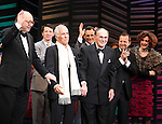 """Neil Simon, Sean Hayes, Hal David, Rob Ashford, Katie Finneran.taking a bow on the  Opening Night Broadway performance Curtain Call for """"PROMISES, PROMISES"""" at the Broadway Theatre, New York City..April 25, 2010."""