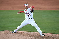 Potomac Nationals relief pitcher Ronald Pena (23) delivers a pitch during the first game of a doubleheader against the Salem Red Sox on May 13, 2017 at G. Richard Pfitzner Stadium in Woodbridge, Virginia.  Potomac defeated Salem 6-0.  (Mike Janes/Four Seam Images)