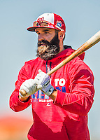 25 February 2016: Washington Nationals infielder Danny Espinosa awaits his turn in the batting cage during the first full squad Spring Training workout at Space Coast Stadium in Viera, Florida. Mandatory Credit: Ed Wolfstein Photo *** RAW (NEF) Image File Available ***