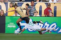 Mexico's Luz Saucedo drags down Natasha Kai (6) during an international friendly, USA Women vs Mexico, Albuquerque, NM,.October 20, 2006..USA 1, Mexico 1.