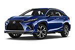 Stock pictures of low aggressive front three quarter view of 2021 Lexus RX 450h-F-SPORT 5 Door SUV Low Aggressive