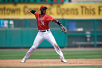 Rochester Red Wings third baseman Niko Goodrum (38) throws to first base during a game against the Columbus Clippers on August 9, 2017 at Frontier Field in Rochester, New York.  Rochester defeated Columbus 12-3.  (Mike Janes/Four Seam Images)