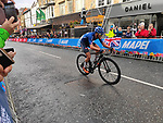 Alessio Martinelli of Italy climbs Parliment Street in Harrogate on his way to finishing 2nd in the Men's Junior Road Race of the UCI World Championships 2019 running 148km from Richmond to Harrogate, England. 26th September 2019.<br /> Picture: Seamus Yore | Cyclefile<br /> <br /> All photos usage must carry mandatory copyright credit (© Cyclefile | Seamus Yore)