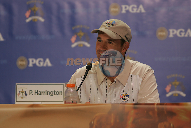 Padraig Harrington gives an interview in the Media Center during the buildup to the 37th Ryder Cup at Valhalla Golf Club, Louisville, Kentucky, USA - 17th September 2008 (Photo by Manus O'Reilly/GOLFFILE)