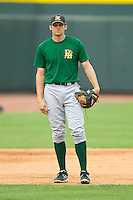 Lynchburg Hillcats third baseman Kyle Kubitza (20) during infield practice prior to the game against the Winston-Salem Dash at BB&T Ballpark on August 5, 2013 in Winston-Salem, North Carolina.  The Dash defeated the Hillcats 5-0.  (Brian Westerholt/Four Seam Images)