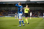 St Johnstone v Lask…26.08.21  McDiarmid Park    Europa Conference League Qualifier<br />David Wotherspoon is ent off by referee Daniel Siebert<br />Picture by Graeme Hart.<br />Copyright Perthshire Picture Agency<br />Tel: 01738 623350  Mobile: 07990 594431
