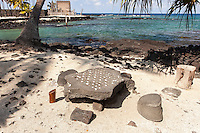 Replica of a konane game with pebbles in Pu'uhonua (Place of Refuge) o Honaunau National Historical Park, Big Island.
