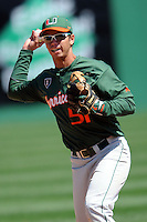University of Miami Hurricanes infielder Brandon Lopez #51 prior to a game versus the Boston College Eagles at Shea Field in Chestnut Hill, Massachusetts on April 26, 2013.  (Ken Babbitt/Four Seam Images)