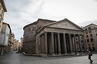 """Pantheon. <br /> <br /> Rome, 12/03/2020. Documenting Rome under the Italian Government lockdown for the Outbreak of the Coronavirus (SARS-CoV-2 - COVID-19) in Italy. On the evening of the 11 March 2020, the Italian Prime Minister, Giuseppe Conte, signed the March 11th Decree Law """"Step 4 Consolidation of 1 single Protection Zone for the entire national territory"""" (1.). The further urgent measures were taken """"in order to counter and contain the spread of the COVID-19 virus"""" on the same day when the WHO (World Health Organization, OMS in Italian) declared the coronavirus COVID-19 as a pandemic (2.).<br /> ISTAT (Italian Institute of Statistics) estimates that in Italy there are 50,724 homeless people. In Rome, around 20,000 people in fragile condition have asked for support. Moreover, there are 40,000 people who live in a state of housing emergency in Rome's municipality.<br /> March 11th Decree Law (1.): «[…] Retail commercial activities are suspended, with the exception of the food and basic necessities activities […] Newsagents, tobacconists, pharmacies and parapharmacies remain open. In any case, the interpersonal safety distance of one meter must be guaranteed. The activities of catering services (including bars, pubs, restaurants, ice cream shops, patisseries) are suspended […] Banking, financial and insurance services as well as the agricultural, livestock and agri-food processing sector, including the supply chains that supply goods and services, are guaranteed, […] The President of the Region can arrange the programming of the service provided by local public transport companies […]».<br /> Updates: on the 12.03.20 (6:00PM) in Italy there 14.955 positive cases; 1,439 patients have recovered; 1,266 died.<br /> <br /> Footnotes & Links:<br /> Info about COVID-19 in Italy: http://bit.do/fzRVu (ITA) - http://bit.do/fzRV5 (ENG)<br /> 1. March 11th Decree Law http://bit.do/fzREX (ITA) - http://bit.do/fzRFz (ENG)<br /> 2. http://bit.do/fzRKm"""