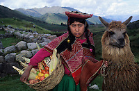 Amérique/Amérique du Sud/Pérou/Env de Cuzco : Jeune indienne en costume typique, son plateau de fruits et légumes et son lama