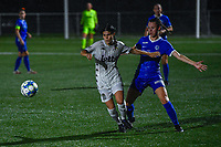 Manola Galofaro (10) of Sporting du Pays de Charleroi and Arnolda Antonia Geraedts Kelsey (17) of KRC Genk pictured during a female soccer game between  Racing Genk Ladies and Sporting du pays de Charleroi on the fourth matchday of the 2021-2022 season of the Belgian Scooore Womens Super League , friday 10 September 2021  in Genk , Belgium . PHOTO SPORTPIX | STIJN AUDOOREN