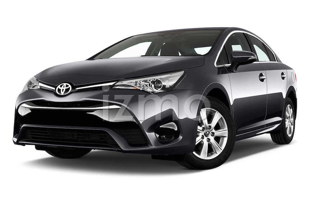 Stock pictures of low aggressive front three quarter view of 2015 Toyota Avensis Active 4 Door Sedan Low Aggressive