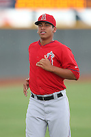 Ricardo Sanchez #47 of the AZL Angels warms up before pitching against the AZL Indians at the Cleveland Indians Spring Training Complex on July 13, 2014 in Goodyear, Arizona. AZL Angels defeated the AZL Indians, 6-5. (Larry Goren/Four Seam Images)