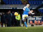 St Johnstone v Hibs…16.03.18…  McDiarmid Park    SPFL<br />Scott Tanser hits the bar with his free kick<br />Picture by Graeme Hart. <br />Copyright Perthshire Picture Agency<br />Tel: 01738 623350  Mobile: 07990 594431