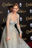 """LOS ANGELES - MAR 1:  Lily James at the """"Cinderella"""" World Premiere at the El Capitan Theater on March 1, 2015 in Los Angeles, CA"""