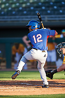 AZL Rangers William Jeffry (12) at bat during an Arizona League game against the AZL Athletics Gold on July 15, 2019 at Hohokam Stadium in Mesa, Arizona. The AZL Athletics Gold defeated the AZL Rangers 9-8 in 11 innings. (Zachary Lucy/Four Seam Images)