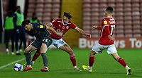 21st November 2020, Oakwell Stadium, Barnsley, Yorkshire, England; English Football League Championship Football, Barnsley FC versus Nottingham Forest; Joe Lolley of Nottingham Forrest shields the ball from Jordan Williams of Barnsley