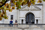 Students sit outside the Memorial Union on the campus of Iowa State University in Ames, Iowa. (Christopher Gannon/Gannon Visuals)