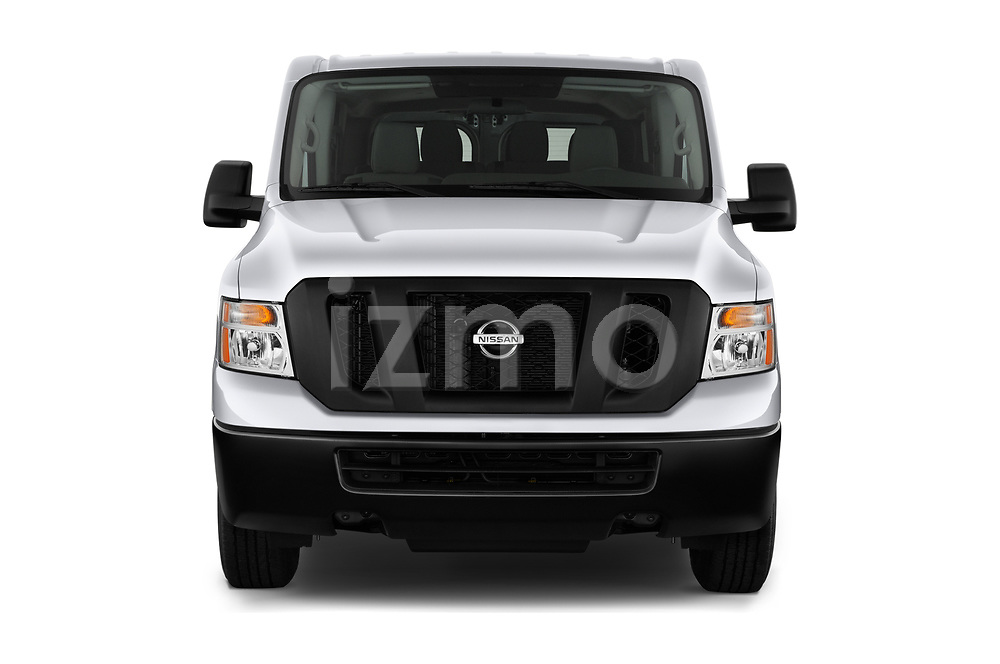 Car photography straight front view of a 2020 Nissan NV-Passenger S 4 Door Passenger Van Front View