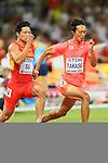 (L to R) <br /> Bingtian Su (CHN), <br /> Kei Takase (JPN), <br /> AUGUST 22, 2015 - Athletics : <br /> 15th IAAF World Championships in Athletics Beijing 2015 <br /> Men's 100m Heats <br /> at Beijing National Stadium in Beijing, China. <br /> (Photo by YUTAKA/AFLO SPORT)