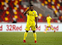 1st October 2020; Brentford Community Stadium, London, England; English Football League Cup, Carabao Cup Football, Brentford FC versus Fulham; Neeskens Kebano of Fulham hands on face in disappointment after his shot goes wide