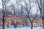Winter lights on Commonwealth Avenue in the Back Bay, Boston, Massachusetts, USA