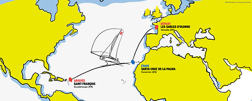 Course for the Mini Transat 2021, starting on September 26th at Les Sables d'Olonnne. By the time Yannick Lemonnier is on the starting line, he will already have sailed thousands of miles with his re-configured boat.