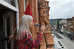 Made In Roath, a spring community arts festival. Roath, Cardiff, Wales. The Redhouse Merthyr Folk singer Frankie Armstrong sings The Bells of Rhymney to set people on their way.  May 2014